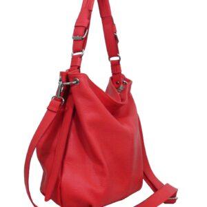 Дамска чанта цвят корал от естествена кожа - EvrikaShop