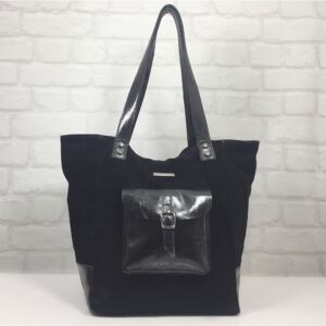Чанта Еврика 10716НЕК естествена кожа черна