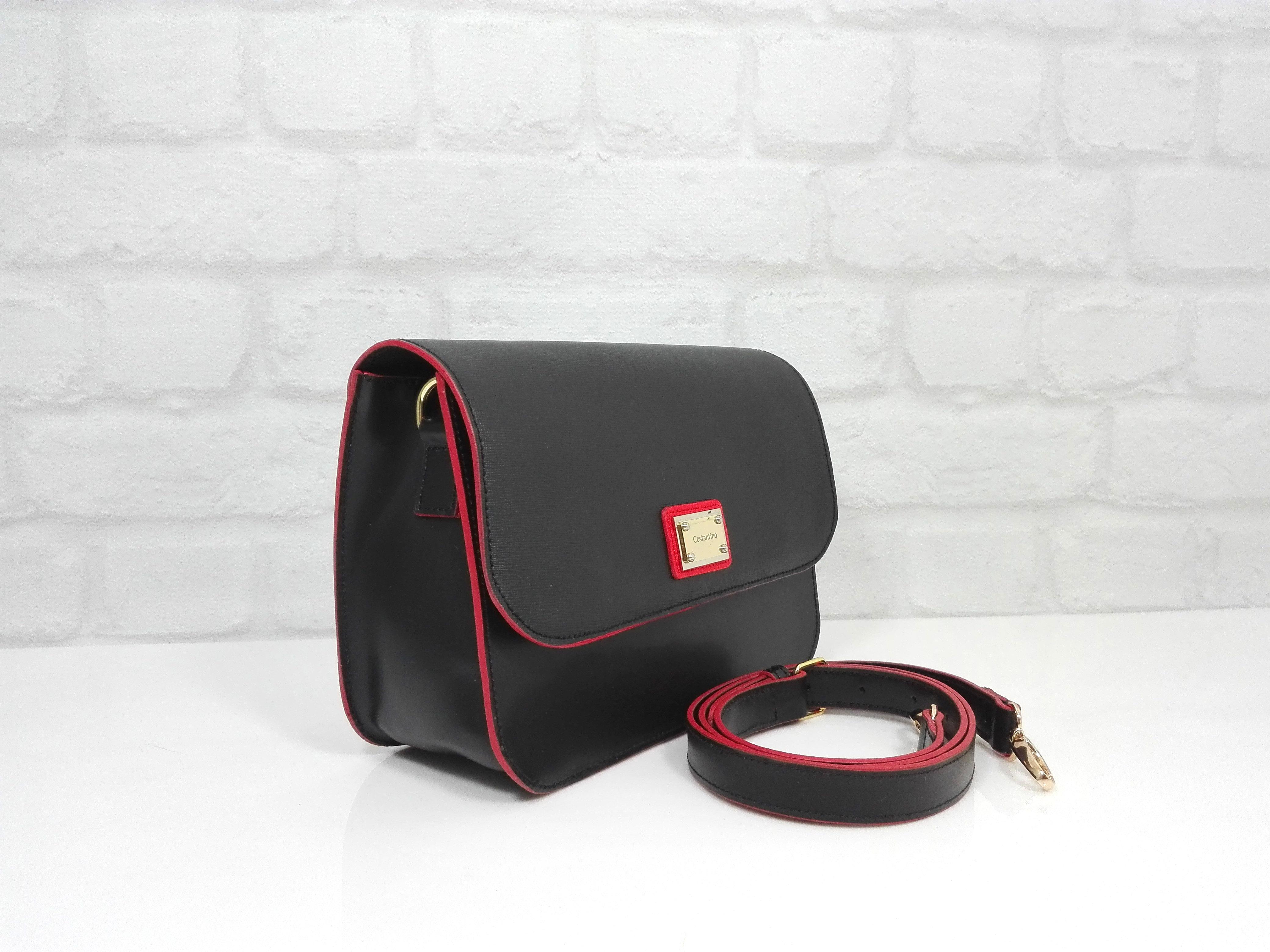 Чанта Costantino 1415/23 черно с червено естествена кожа