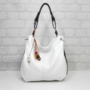 Чанта Ади бяла с тъмно синя дръжка - EvrikaShop