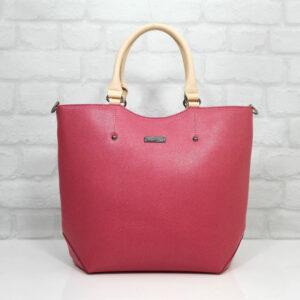 Дамска чанта Еврика естествена кожа цвят корал - EvrikaShop