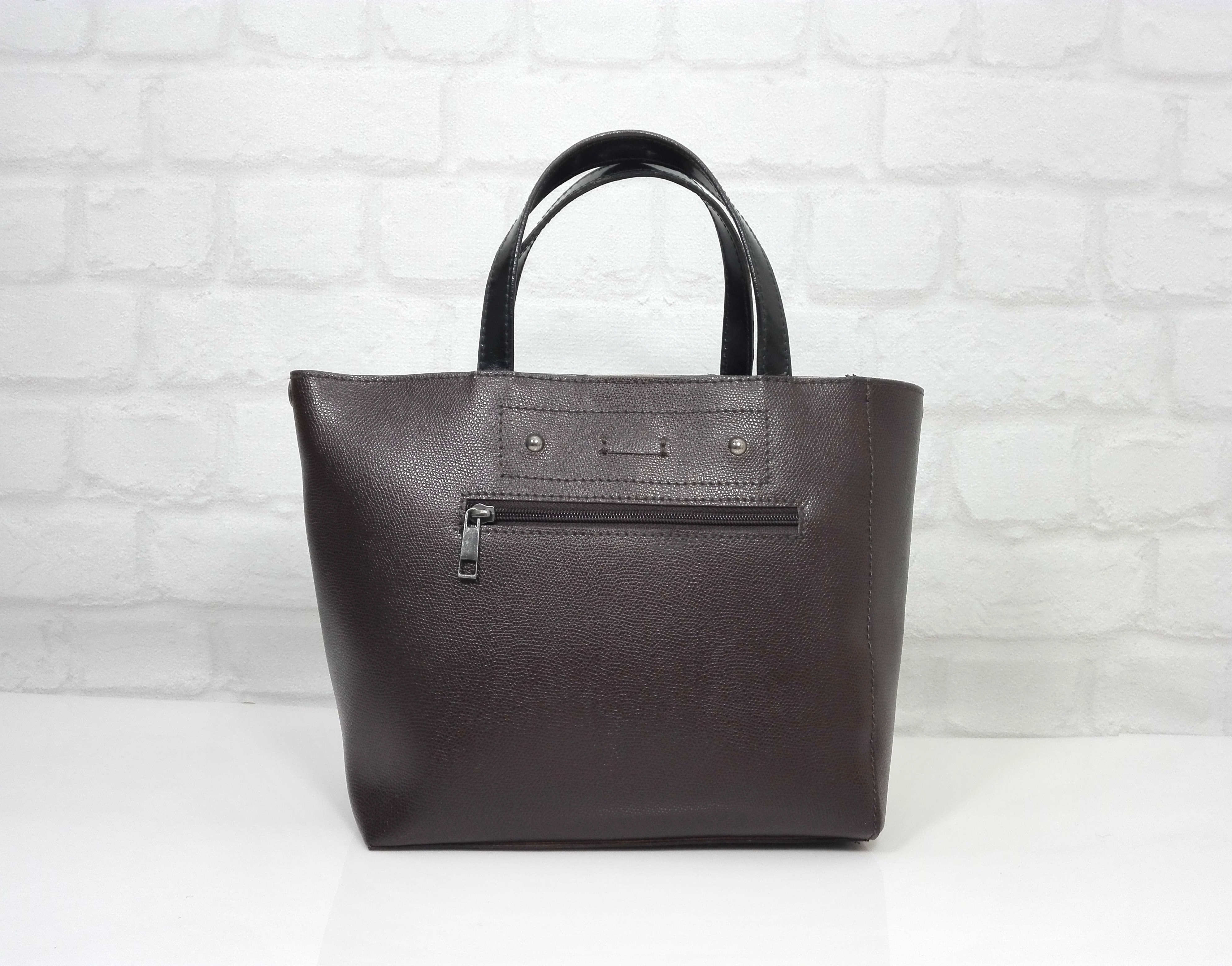 Чанта Еврика 10900-естествена кожа, тъмно кафява