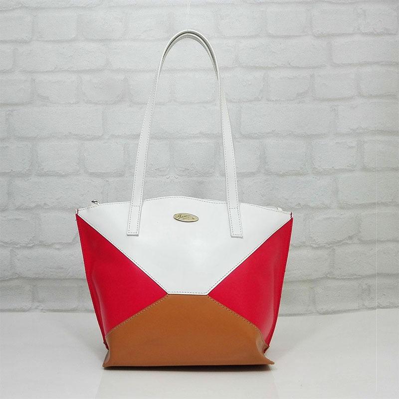 Чанта Еврика 10791-1Т естествена кожа три цвята