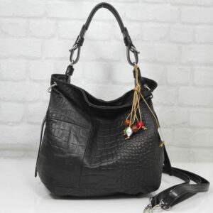 Чанта Еврика 10716P естествена кожа черна