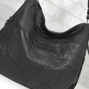 Чанта Еврика 10907P естествена кожа черна