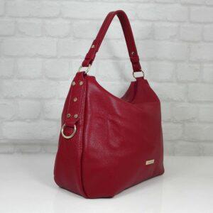 Чанта Еврика 10907R естествена кожа червена