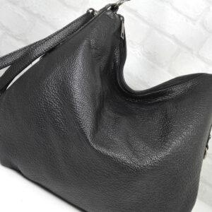 Чанта Еврика 10907H естествена кожа черна