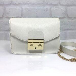 Чанта Еврика 10FB бяла естествена кожа