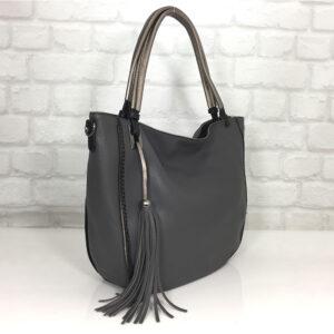 Дамска чанта Мария в тъмно сиво от Италия - EvrikaShop ®