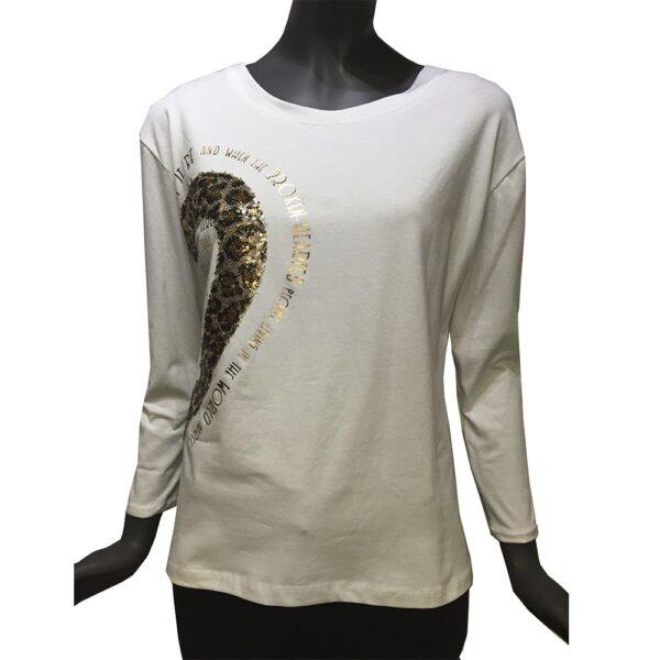 Дамска блуза 6480088А бяла със златиста щампа