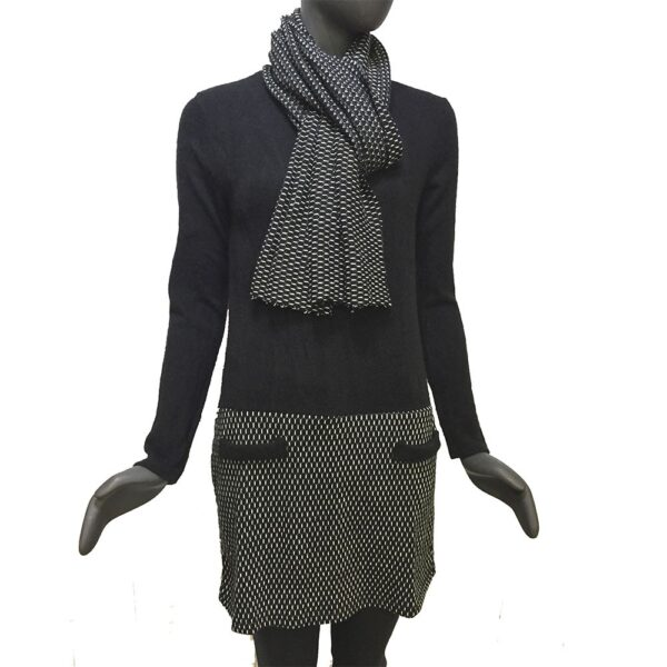 Дамска плетена рокля комплект с шал черно със сиво EvrikaShop ®