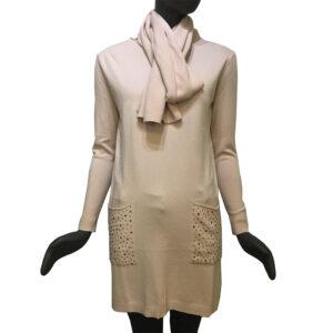 Дамска плетена рокля комплект с шал бледо розова - EvrikaShop