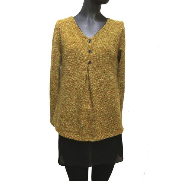 Дамска плетена рокля комплект с шал Д6446 черно със сиво