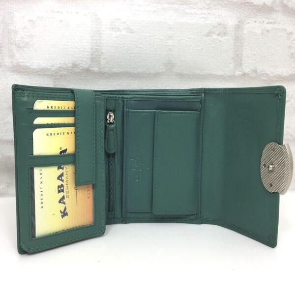 Дамско портмоне естествена кожа GAP 13092 черно със зелено