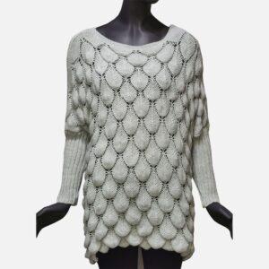 Дамски пуловер бледо сив от Италия - EvrikaShop