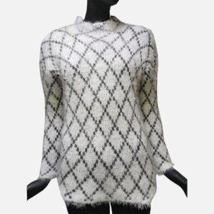 Дамски пуловер мохер-бяло с черно - EvrikaShop