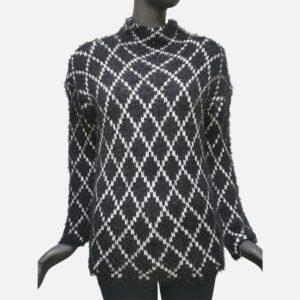 Дамски пуловер мохер-черно с бяло - EvrikaShop
