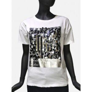 Дамска тениска Д2374 бяла със сребристо