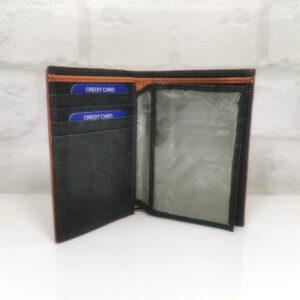 Мъжки портфейл 19НО естествена кожа, черен с опанжево, вертикален