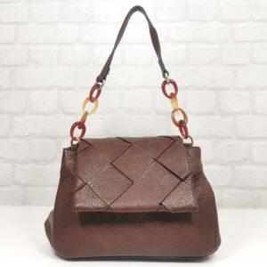 Дамска чанта Мария бордо от Италия - EvrikaShop