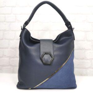 Тъмно синя италианска дамска чанта EvrikaShop