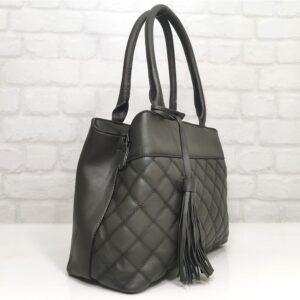 Стилна дамска чанта Мария в сиво - EvrikaShop