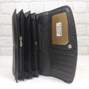 Дамско портмоне от естествена кожа черно голямо - EvrikaShop