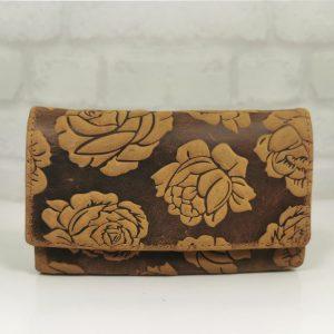 Дамско портмоне естествена кожа с щампа - EvrikaShop