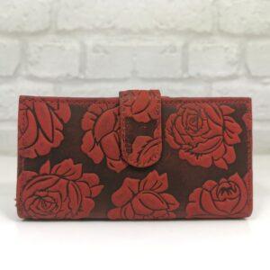 Червено дамско портмоне естествена кожа - EvrikaShop