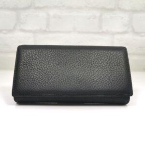Черно дамско портмоне естествена кожа - EvrikaShop