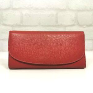 Червено голямо дамско портмоне естествена кожа - EvrikaShop