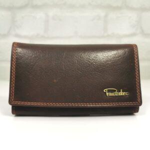Тъмно кафяво дамско портмоне естествена кожа - EvrikaShop