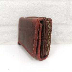 Дамско портмоне естествена кожа в бордо - EvrikaShop