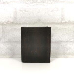 Мъжки вертикален портфейл естествена кожа тъмно кафяв