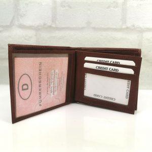 Мъжки портфейл естествена кожа червеникаво кафяв - EvrikaShop