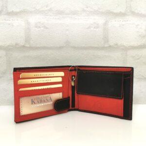 Мъжки портфейл естествена кожа черен с червено, хоризонтален