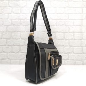 Дамска чанта Еврика черно със сиво - EvrikaShop