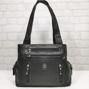 Дамска чанта Еврика в черно с прегради - EvrikaShop