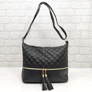 Удобна дамска чанта Еврика черна - EvrikaShop