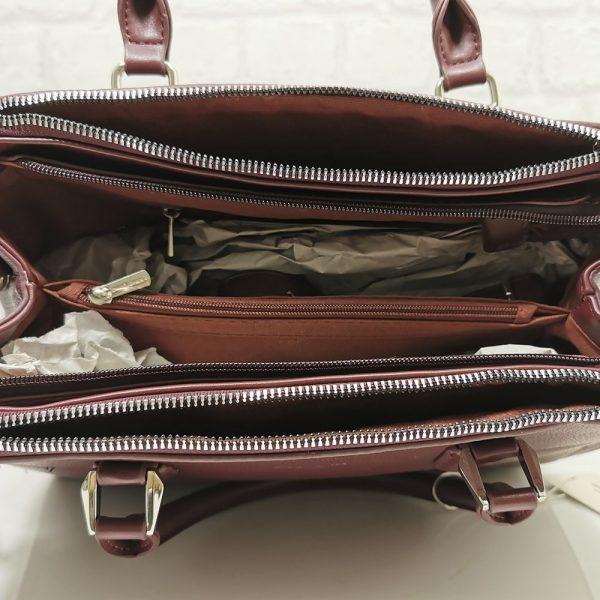 Стилна дамска чанта David Jones тъмно бордо - EvrikaShop