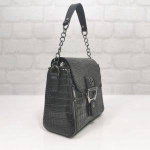 """Малка дамска чанта Еврика черна """"кроко"""" - EvrikaShop"""