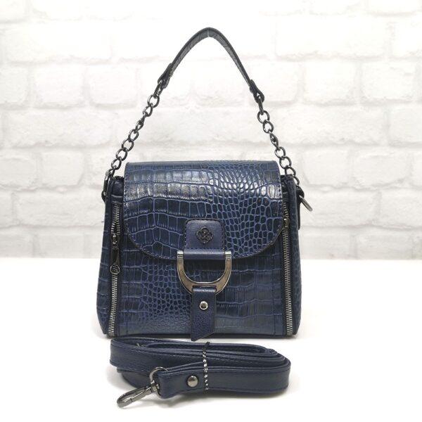 """Малка тъмно синя чанта Еврика """"кроко"""" - EvrikaShop"""
