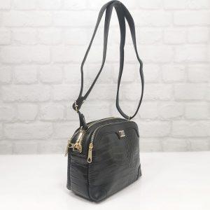 """Дамска малка чанта Еврика черна """"кроко"""" - EvrikaShop"""
