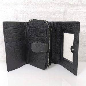 Дамско портмоне от естествена кожа в черно - EvrikaShop