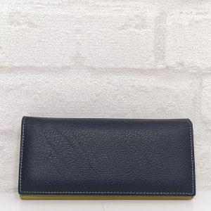 Дамско портмоне естествена кожа тъмно синьо, голямо - EvrikaShop
