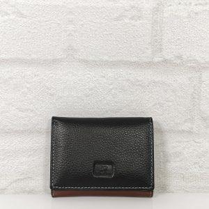 Дамско портмоне естествена кожа черно с бордо, малко - EvrikaShop