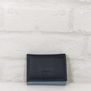 Дамско портмоне естествена кожа тъмно синьо със светло синьо