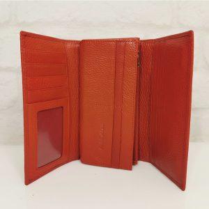 Дамско портмоне естествена кожа червено голямо - EvrikaShop