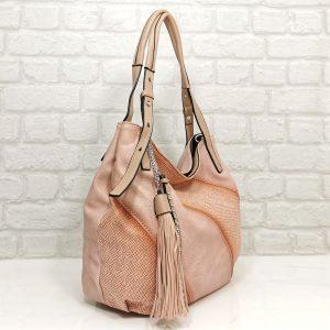 Чанта Мария розова гама тип торба - EvrikaShop