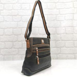Чанта Еврика черна с тъмно кафяво - EvrikaShop